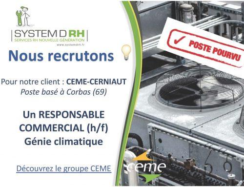 Une nouvelle opportunité à saisir chez CEME-Cerniaut pour la zone Grand Lyon.
