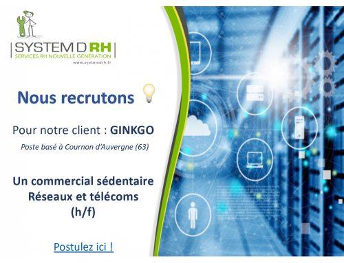 Opportunité #CDI Puy-de-Dôme – Commercial sédentaire réseaux et télécoms – GINKGO